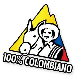 Sticker Calcomania 100% Colombiano Badera de Colombia Flag Cafe