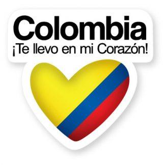 STICKER COLOMBIA TE LLEVO EN MI CORAZON CALCOMANIA ADHESIVO PEGATINA